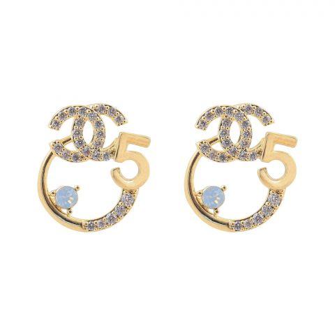 Channel Style Girls Earrings, Golden, NS-0110