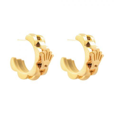 Rolex Style Girls Earrings, Golden, NS-0116