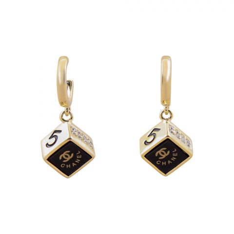 Channel Style Girls Earrings, Black, NS-0118