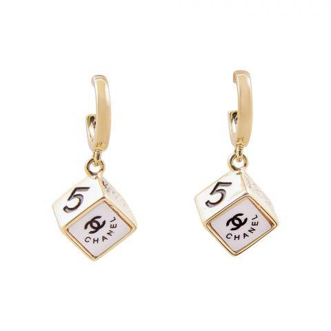 Channel Style Girls Earrings, White, NS-0118