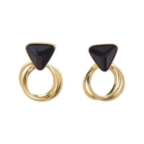 Girls Earrings, Golden/Black, NS-0120