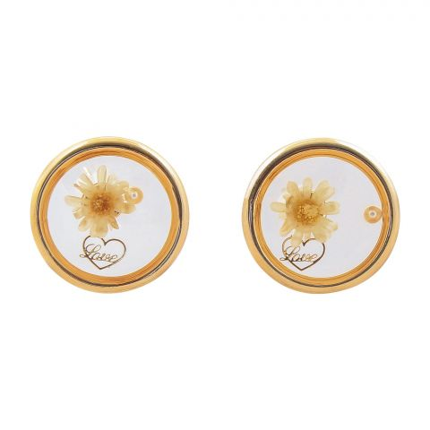 Girls Earrings, White, NS-0124
