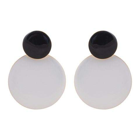 Girls Earrings, White/Black, NS-0127