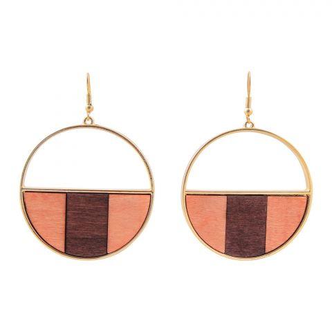 Girls Earrings, Dark/Light Brown, NS-0142