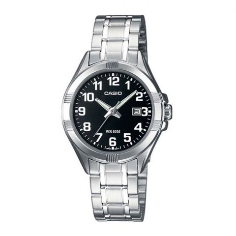 Casio Women's Analog Black Dial Dress Watch, Stainless Steel Strap, LTP-1308D-1BVDF