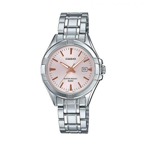 Casio Women's Pink Dial Stainless Steel Dress Watch, LTP-1308D-4AVDF