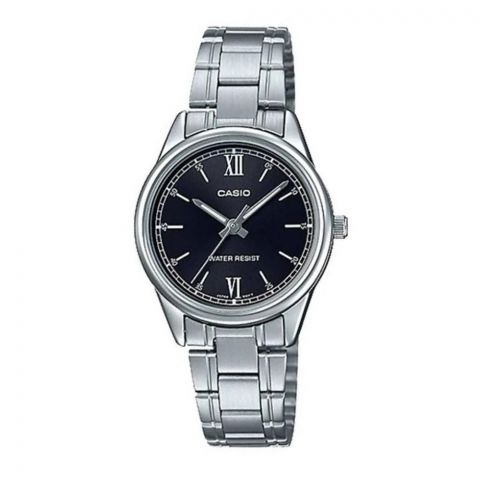 Casio Women's General Silver Stainless Steel Black Dial Watch, LTP-V005D-1B2UDF