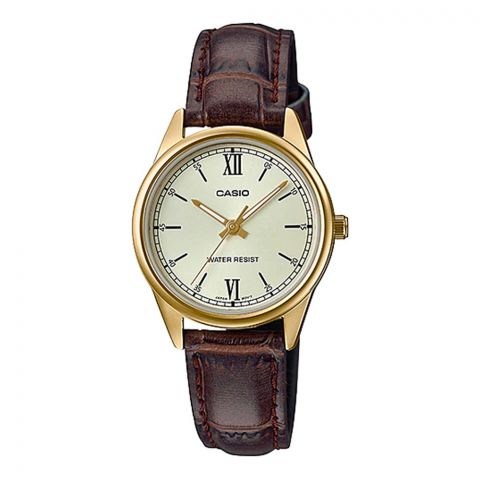 Casio Women's Champagne Face Analog Dress Watch, Brown Leather Strap, LTP-V005GL-9BUDF