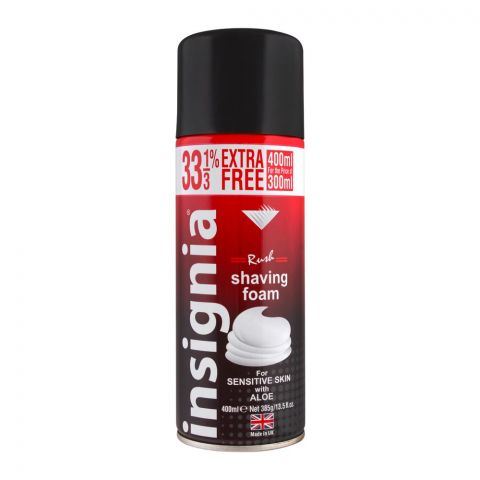 Insignia Rush Shaving Foam, For Sensitive Skin With Aloe, 400ml