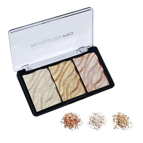 Makeup Revolution Pro Supreme Highlighter, Gold, 3 Shades