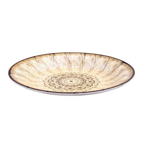 Sky Melamine Flat Plate, Brown, Quarter