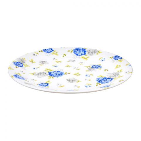 Sky Melamine Flat Plate, Blue, Quarter
