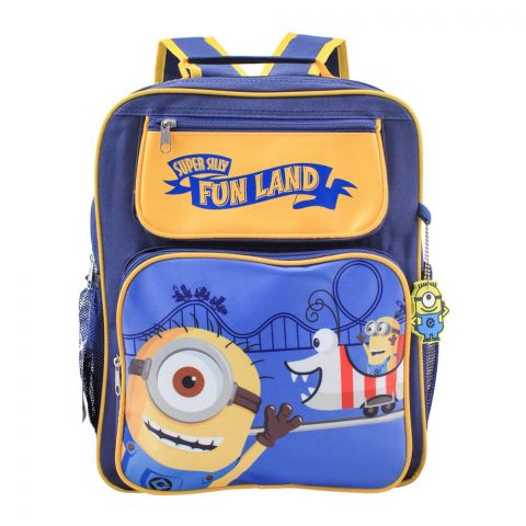 Minion Super Silly Fun Land Boys Backpack, Blue/Yellow, DE-33256
