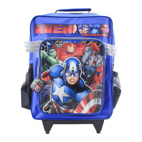 Avengers Captain America Boys Trolly Backpack, Blue/Black, MVNE-6022