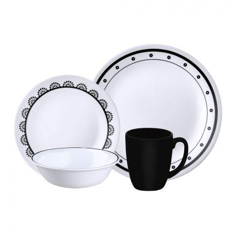Corelle Livingware Breakfast Set, Black & White, Mix & Match, 16 Pieces
