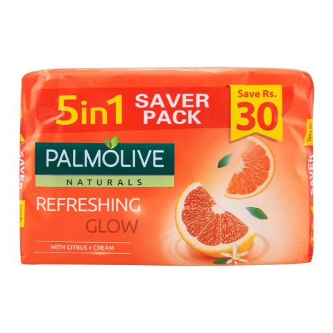 Palmolive Naturals Refreshing Glow Soap, 5-In-One Pack, 5x110g