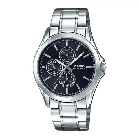 Casio Enticer Men's Black Dial Multi Hands Watch, Stainless Steel Band, MTP-V302D-1AUDF