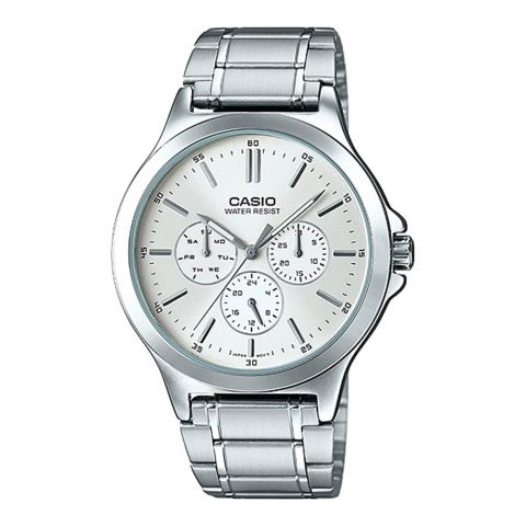 Casio Men's Multi Hands Stainless Steel White Dial Analog Watch, MTP-V302D-7AUDF