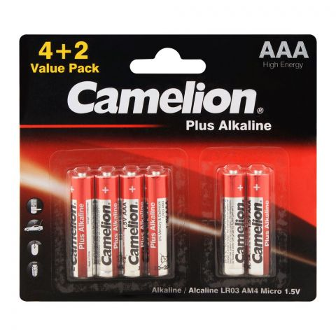 Camelion Plus Alkaline AAA Battery, Value Pack 4+2, 4&2LR03V-BP