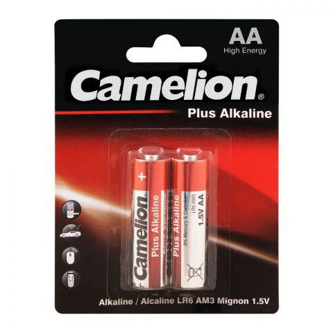 Camelion Plus Alkaline AA Battery, 2-Pack, LR6-BP2