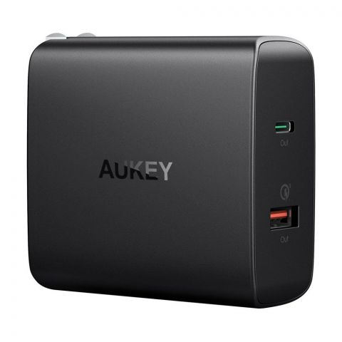 Aukey Amp USB-C Dual-Port Wall Charger, Black, PA-Y11
