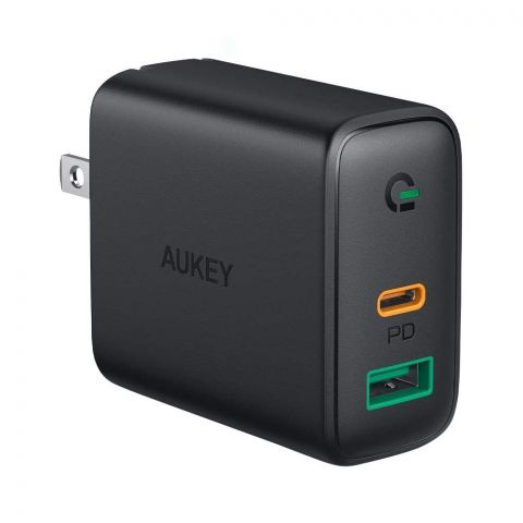 Aukey 30W USB-C Power Delivery Wall Charger With Dynamic Detect, Black, PA-D1