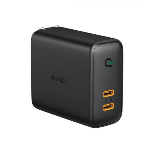 Aukey 36W USB-C Dual-Port Power Delivery Wall Charger With Dynamic Detect, Black, PA-D2