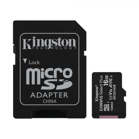 Kingston 16GB MicroSD Card 100MB/s Canvas Select Plus, Class 10