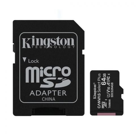 Kingston 64GB MicroSD Card 100MB/s Canvas Select Plus, Class 10