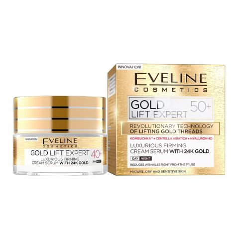 Eveline Gold Lift Expert 50+ Day And Night Firming Cream Serum, With 24K Gold, Mature, Dry & Sensitive Skin, 50ml