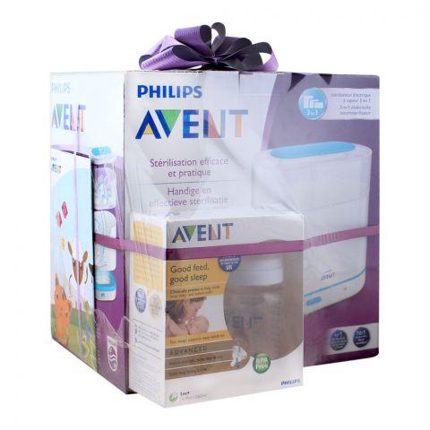 Avent 3-In-1 Electric Steam Sterilizer + Advanced Feeding Bottle 2x260ml, SCF284/99