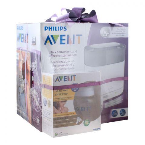 Avent 4-In-1 Electric Steam Sterilizer + Advanced Feeding Bottle 2x260ml, SCF289/99