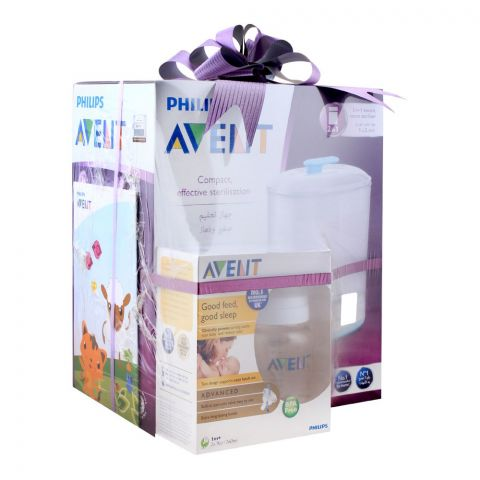 Avent 2-In-1 Electric Steam Sterilizer + Advanced Feeding Bottle 2x260ml, SCF-929/99