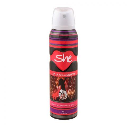 Hunca She Is A Clubber! Perfumed Women Deodorant Spray, 150ml