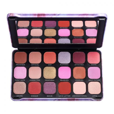 Makeup Revolution Forever Flawless Eyeshadow Palette, Unconditional Love, 18 Pieces