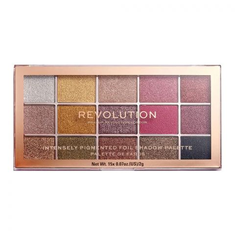 Makeup Revolution Eyeshadow Palette, Foil Frenzy - Creation, 15 Pieces