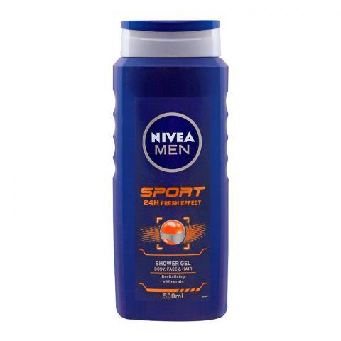 Nivea Men Sports 24H Fresh Effect Body, Face & Hair Shower Gel, 500ml