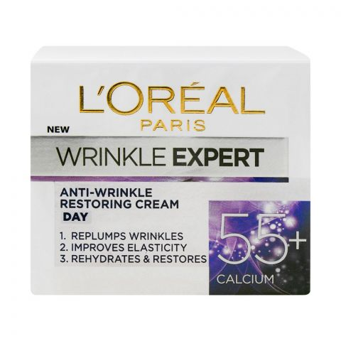 L'Oreal Paris Wrinkle Expert Anti-Wrinkle Restoring Day Cream, 55+ Calcium, 50ml