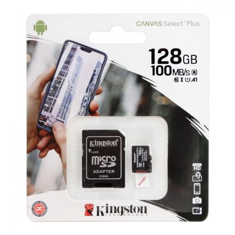 Kingston Canvas Select Plus 128GB Micro SD Card, 100MB/s, SDCS2/128GB