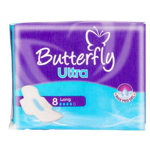 Butterfly Max Pro Gel Ultra Pads, Long, 8-Pack