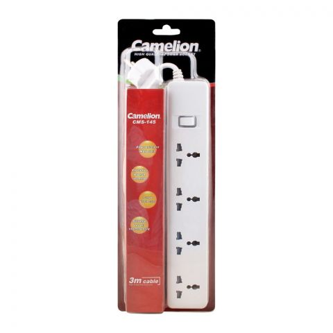 Camelion 4-Outlet Power Socket Extension, Long, 3m Cable, CMS-145