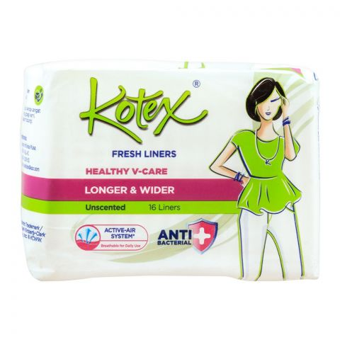 Kotex Fresh Liners Healthy V-Care, Unscented, Longer & Wider, 16-Pack