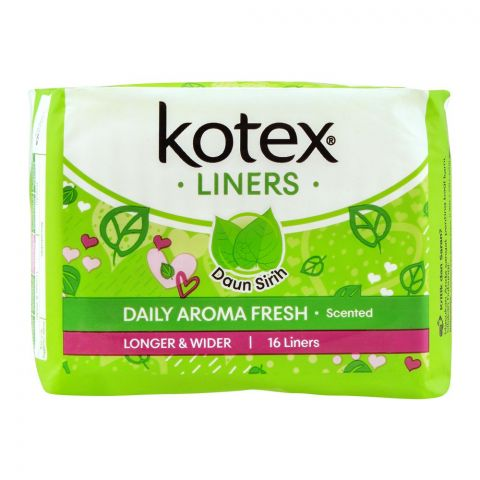 Kotex Daily Aroma Fresh Liners, Daun Sirih Scented, Longer & Wider, 16-Pack
