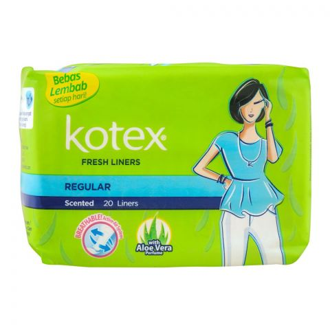 Kotex Fresh Liners, Scented, Regular, With Aloe Vera Perfume, 20-Pack