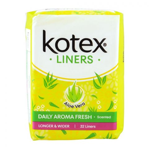 Kotex Daily Aroma Fresh Liners, Aloe Vera Scented, Longer & Wider, 32-Pack