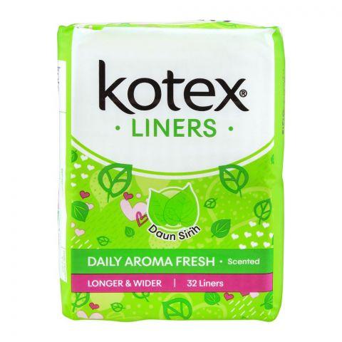 Kotex Daily Aroma Fresh Liners, Daun Sirih Scented, Longer & Wider, 32-Pack
