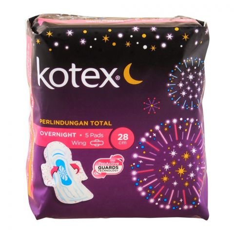 Kotex Total Protection Over Night Wing Pads, 28cm, 5-Pack