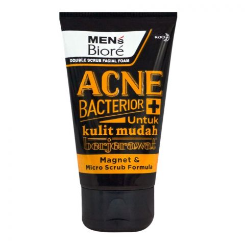 Biore Men's Acne + Bacterior Double Scrub Facial Foam, 100g