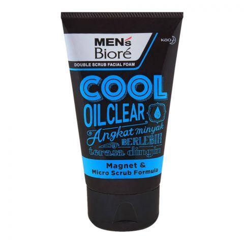 Biore Men's Cool Oil Clear Double Scrub Facial Foam, 100g