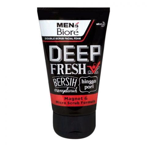 Biore Men's Deep Fresh Double Scrub Facial Foam, 100g